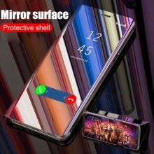 Зеркальный чехол-книжка-подставка Mirror Case для смартфона Xiaomi Mi6X / Xiaomi Mi A2, противоударный чехол, пластик + полиуретан, смарт-чехол (при открытии чехла экран включается), Kview Magic Mirror, возможность трансформации чехла в подставку для просмотра видео, чёрный, синий, фиолетовый, золотой, розовый, Киев