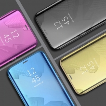 Зеркальный чехол-книжка-подставка Mirror Case для смартфона Xiaomi Redmi 8, противоударный чехол, пластик + полиуретан, смарт-чехол (при открытии чехла экран включается), Kview Magic Mirror, возможность трансформации чехла в подставку для просмотра видео, чёрный, синий, фиолетовый, золотой, розовый, Киев
