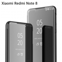 Зеркальный чехол-книжка-подставка Mirror Case для смартфона Xiaomi Redmi Note 8, противоударный чехол, пластик + полиуретан, смарт-чехол (при открытии чехла экран включается), Kview Magic Mirror, возможность трансформации чехла в подставку для просмотра видео, чёрный, синий, фиолетовый, золотой, розовый, Киев