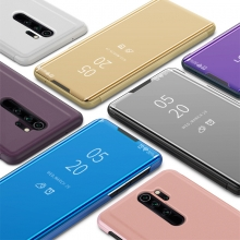Зеркальный чехол-книжка-подставка Mirror Case для смартфона Xiaomi Redmi Note 8 Pro, противоударный чехол, пластик + полиуретан, смарт-чехол (при открытии чехла экран включается), Kview Magic Mirror, возможность трансформации чехла в подставку для просмотра видео, чёрный, синий, фиолетовый, золотой, розовый, Киев