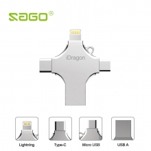 OTG флешка Sago iDragon «4 в одном» USB – microUSB – USB Type-C – Lightning (64 Гб), материал корпуса: металл, скорость чтения/записи порта USB – 80/40 Мб/сек., скорость чтения/записи портов microUSB, USB Type-C, Lightning – 30/20 Мб/сек., FAT32 и exFAT, защита доступа к файлам iUSB Pro App, Windows XP, Windows Vista, Windows 7, Windows 8, Windows 10, iOS 8.0+, Mac OS X 9+, Android 5.1+, Linux 2.4, Chrome OS, кольцо для крепления на цепочку, Киев